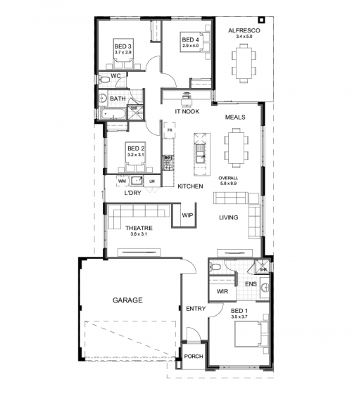 Floorplan for Lot 206 Donnelly Street, Piara Waters